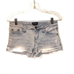 Bebe Light Wash Distressed Denim Shorts